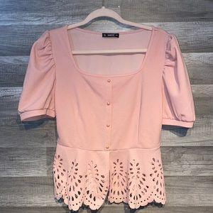 SHEIN button front puff sleeve blouse
